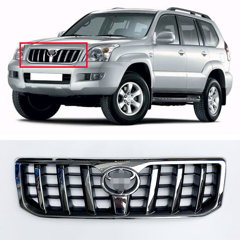 Car Styling Accessories ABS Chromed Front Grille with Silvery Emblem Fit For Toyota Prado FJ120 LC120