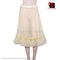Пикантные прозрачные натуральный латекс юбка с оборками резиновая мини юбка Gummi Playsuit Bodycon мини юбка размер XXXL QZ 088