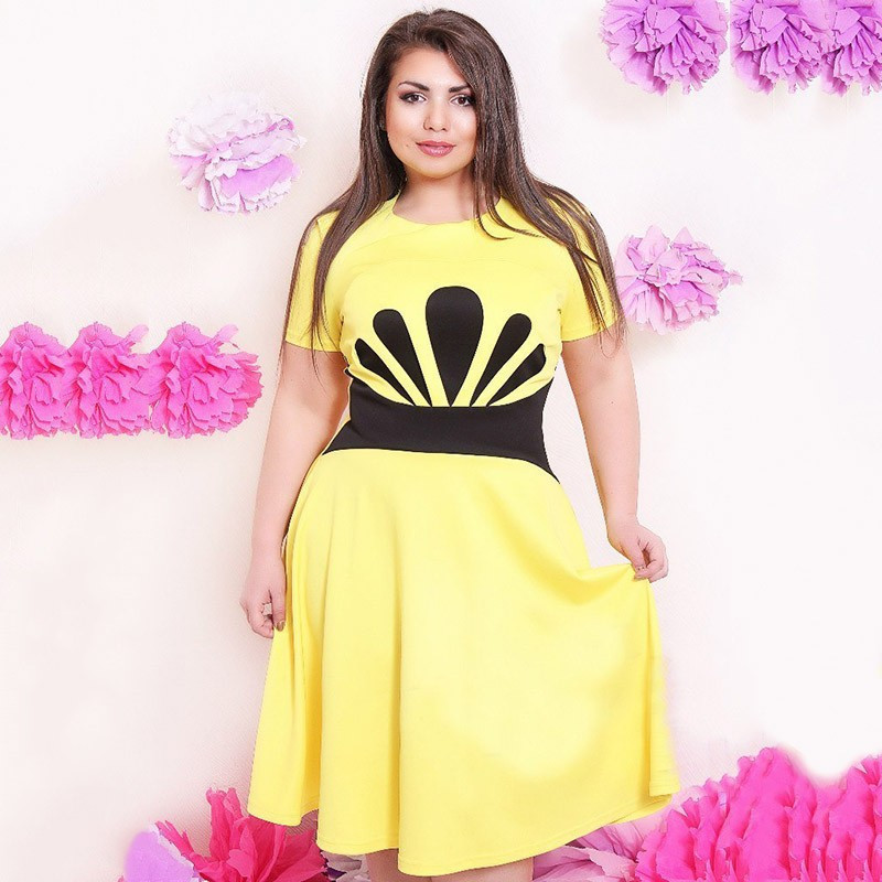 4cee00942dcde US $25.45 |Summer 6xl Plus Size Women Dress Short Sleeve Oversized Contrast  Colour Midi Party Dress For Overweight Woman Vestido Largo-in Dresses from  ...