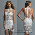 Robe de Cocktail White Short Cocktail Dress Lace Beaded Hollow Back Sheath High Low Prom Dresses 2015 Vestidos Curtos