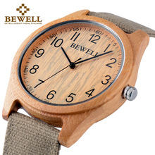 BEWELL 2016 Hot Sell Sports Dress Casual Natural Wood & Bamboo Watch With Canvas  Strap for mens Gifts With Paper Box 134A canvas strap watch with flower face