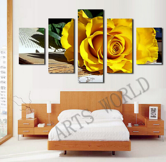 ٩(^‿^)۶Fallout pinturas (sin marco) 5 Panel hermosa rosas pintura al ...