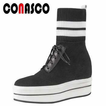 CONASCO New Women Ankle Boots Platforms Socks Boots Warm Autumn Winter Martin Shoes Woman Ladies Brand High Boots Casual Shoes