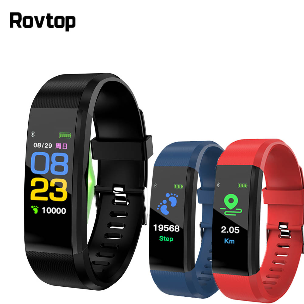 Rovtop 115 Plus Smart Wristband Blood Pressure Watch Fitness Tracker Heart Rate Monitor Band Smart Activity Tracker Bracelet