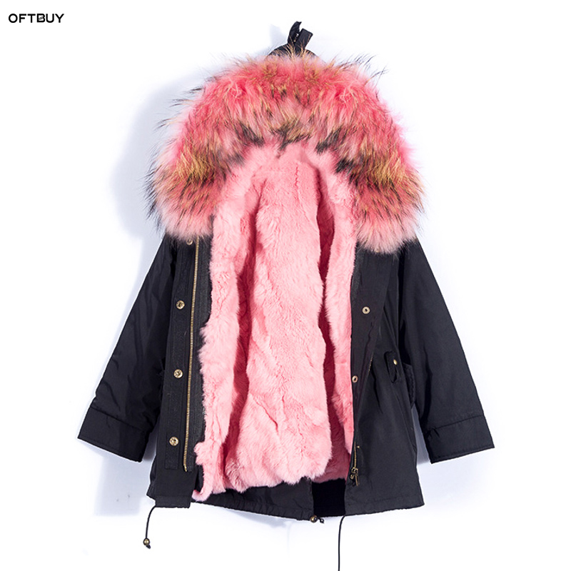 Child girl coat 2019 Winter fashion Real Fur Coat natural raccoon Fur Collar rabbit liner army