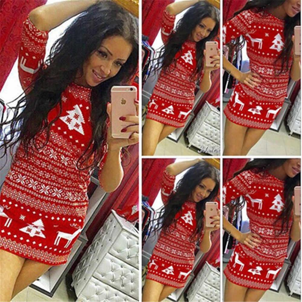 2018 Yeni Stil Moda Seksi Kadınlar Noel Partisi Gevşek Elbise Kokteyl Kısa Elbise Bodycon Elbise Mini