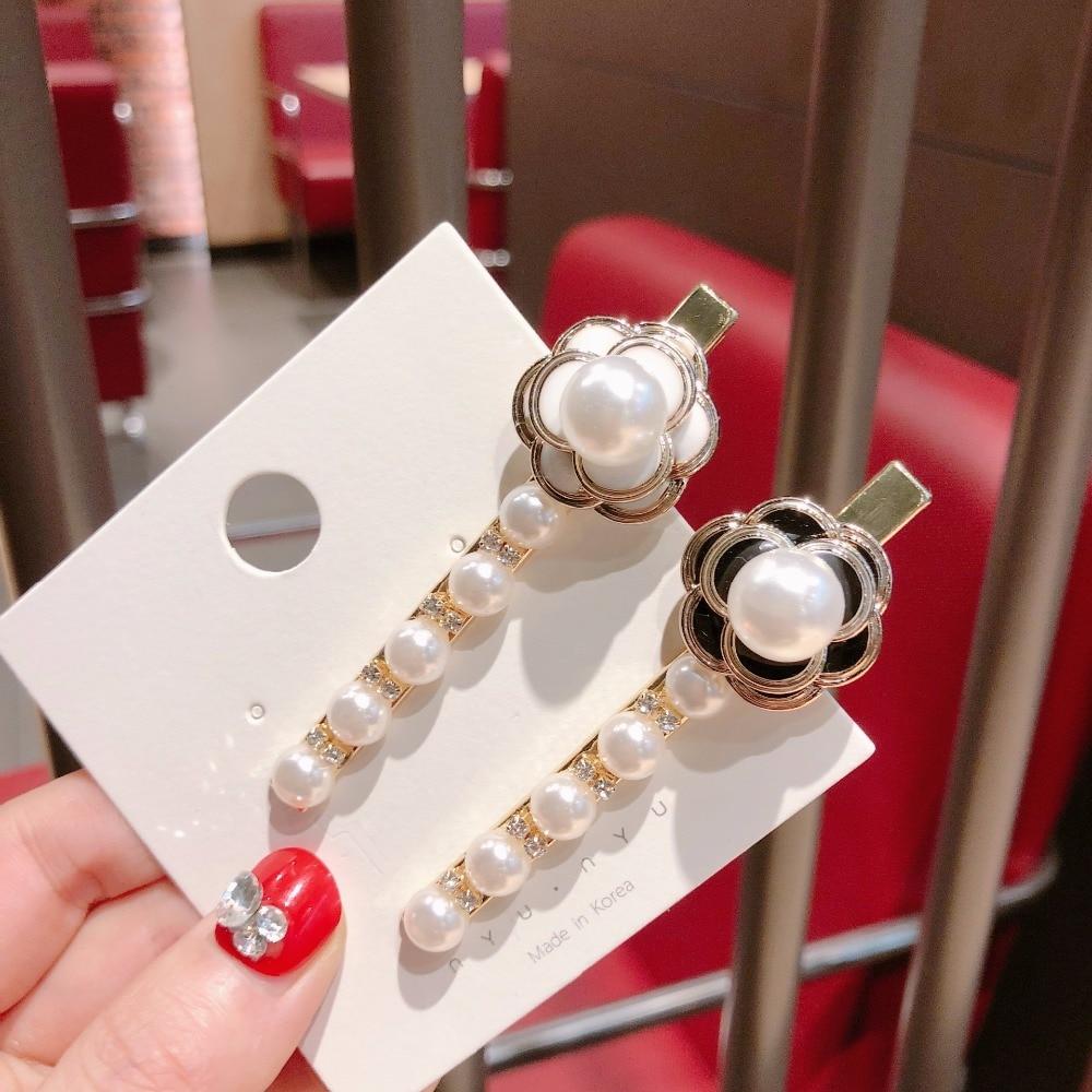 Korea Handmade Fresh Flower Camellia Pearl Women Girls Barrettes BB Hairpins Hair clips Head Wear Accessories-JQAWHRP058C5