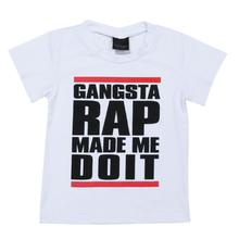 Summer Baby Kids T-shirt Clothes Gangsta Rap Letter Printed Kids Fashion Tops Baby Boys T-Shirt Clothes Children Leisure Outfits