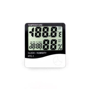 Indoor Kamer LCD Elektronische Temperatuur Vochtigheid Meter Digitale Thermometer Hygrometer Weerstation Wekker HTC-1