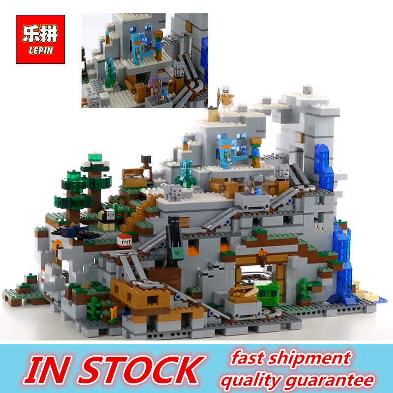 LEPIN 18032 The Mountain Cave Set Building Kit Blocks Bricks My worlds Clone legoings 21137 birthday gifts For Child