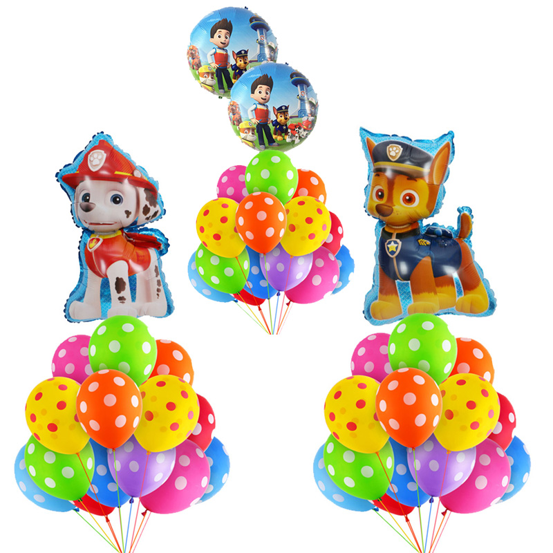 PAW PATROL 15pcs Pink Sky Chase color wave point Foil balloons Number Birthday Party decor Helium Globos kidToys baby shower-in Ballons & Accessories from Home & Garden