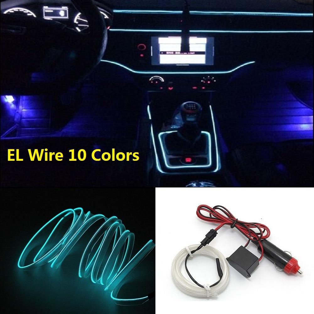 10 цветов, 1 м, 2 м, гибкая неоновая Светодиодная лента EL Wire Tube, автомобильная светодиодная лента s 12 В, универсальное освещение салона автомоби...