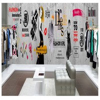 photo wallpaper Industrial style cement wall clothing shop wallpaper European 3D retro barber shop fashion trend bar KTV mural