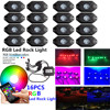 Honzdda 16 Pods RGB Led Rock Lights With Bluetooth App Control Timing Music Mode Multicolor Led