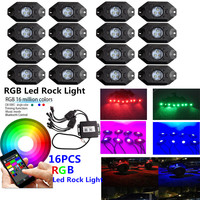 Honzdda 16 Pods RGB Led Rock Lights with Bluetooth App Control Timing Music Mode Multicolor Led Fog Light for Offroad Boat Truck