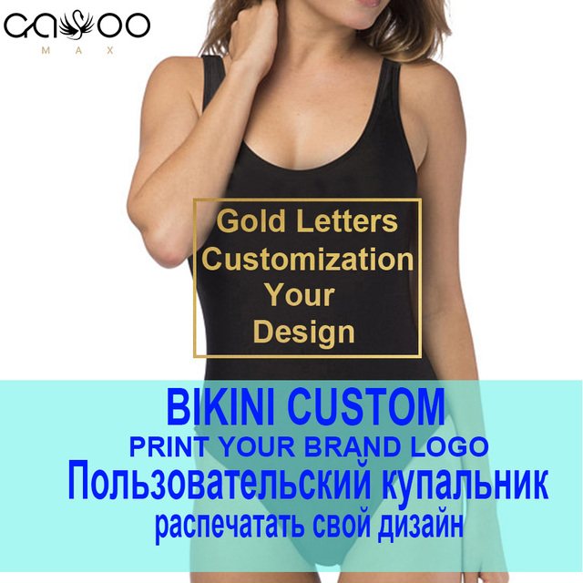 На заказ DIY ваш собственный логотип бренда купальник женский 2019 сексуальный цельный закрытый купальник с золотым принтом купальник без спинки SLGADEN