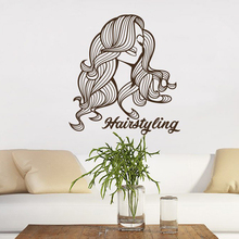 Barber Shop Wall Decal Beauty Salon Vinyl Sticker Girl Make Up Decor Man Woman Hair Salon Design Makeup Interior Scissors A5-005 salon design 05