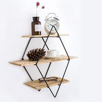 Retro Iron Metal Wood Wall Storage Shelves Bookshelf Storages Holder Book Rack Modern Shelf Bedroom Office Kitchen Organizer