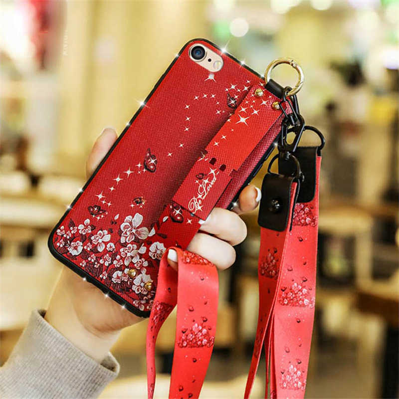 Алмаз ретро наручный браслет с цветами чехол для iPhone 6 6s 7 8 плюс шнурки Ленточки подставка держатель телефона для iPhone X Xs Xr Xs максимальный чехол