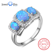 925 Sterling Silver Women S Rings Luxurious Blue Opal Stone Party Jewelry Anel For Women JewelOra