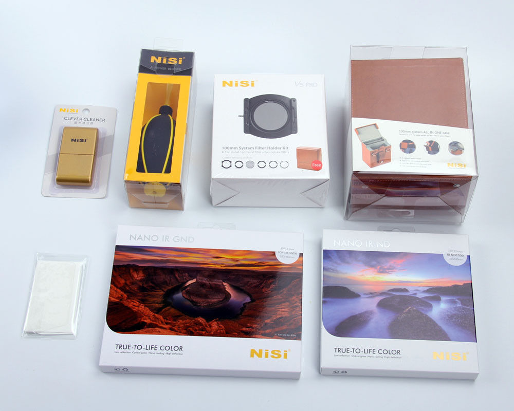 Nisi 100 millimetri V5 Pro con cpl filter holder + 100x150x2mm Morbido GND8 (0.9) + 100x100x2mm IR ND1000 + all in one Kit di Stoccaggio.