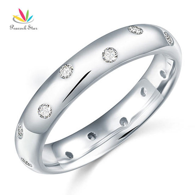 Peacock Star Solid 925 Sterling Silver Bridal Wedding Band Ring Created Diamond Jewelry CFR8060