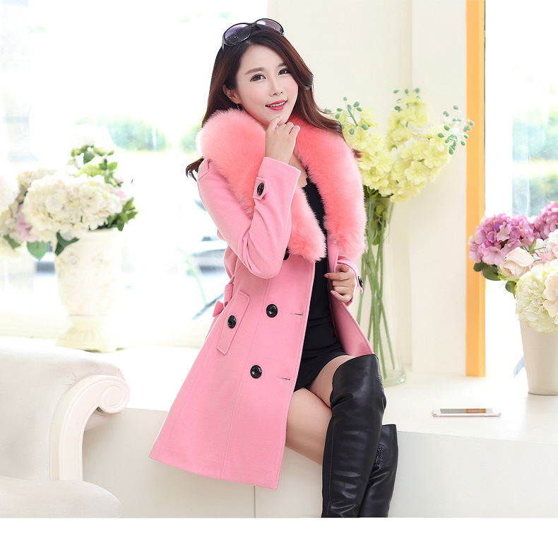 Female coat fur collar coat Fur Collar Women Woolen Coat Slim Womens Jacket Double Breasted Cashmere Coat and Jackets Plus size