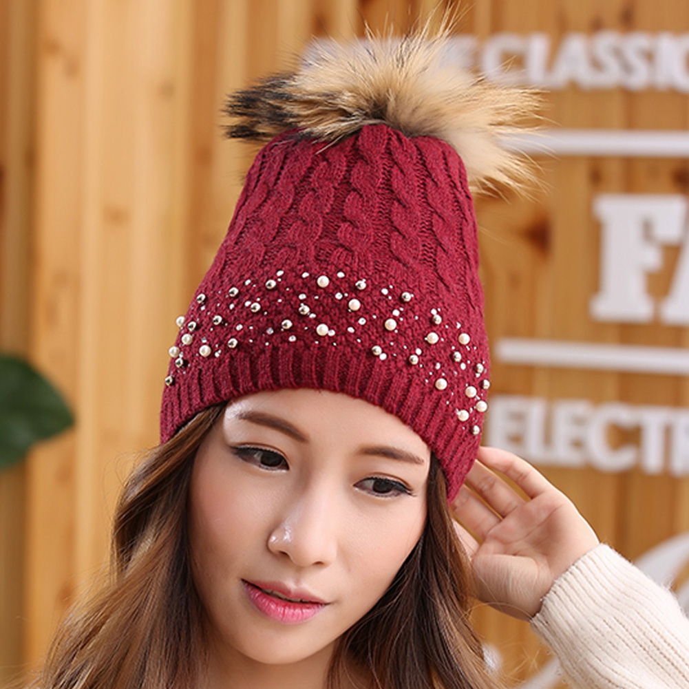 Women winter hat Rivets pearl Decoration wool knitted beanies cap real raccoon fur pompom hats gorros cap female causal hats autumn winter beanie fur hat knitted wool cap with raccoon fur pompom skullies caps ladies knit winter hats for women beanies