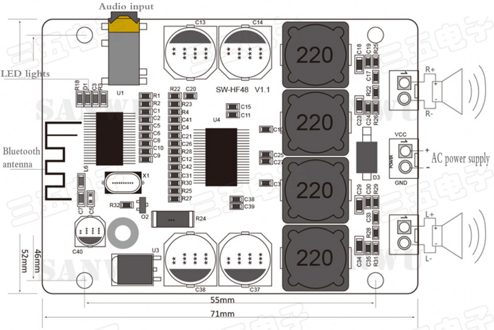 DC 12V 24V TPA3118 30W + 30W Wireless Bluetooth Audio Receiver Stereo  Mm Jack Wiring Diagram R on