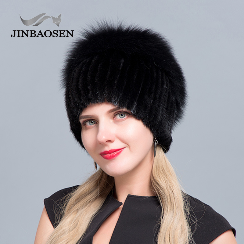 JINBAOSEN hot sale Russian fur hat otter with fox combined with fur fashion hat knitted wool