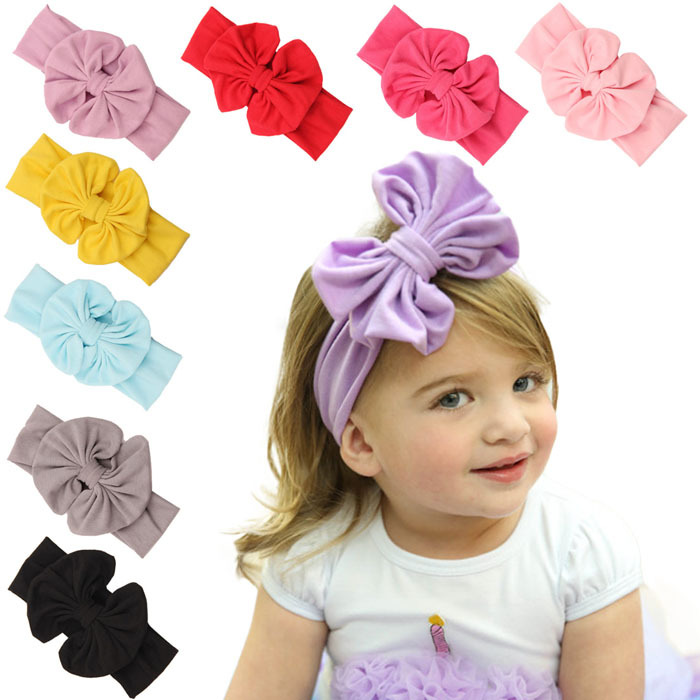 2015 new children's cotton bow hair band baby hair jewelry elastic headwear girl turban headband knot headwrap kids accessories 3pcs lot lovely printed floral fabric bow headband striped dots knot elastic nylon hair band for girl children headwear