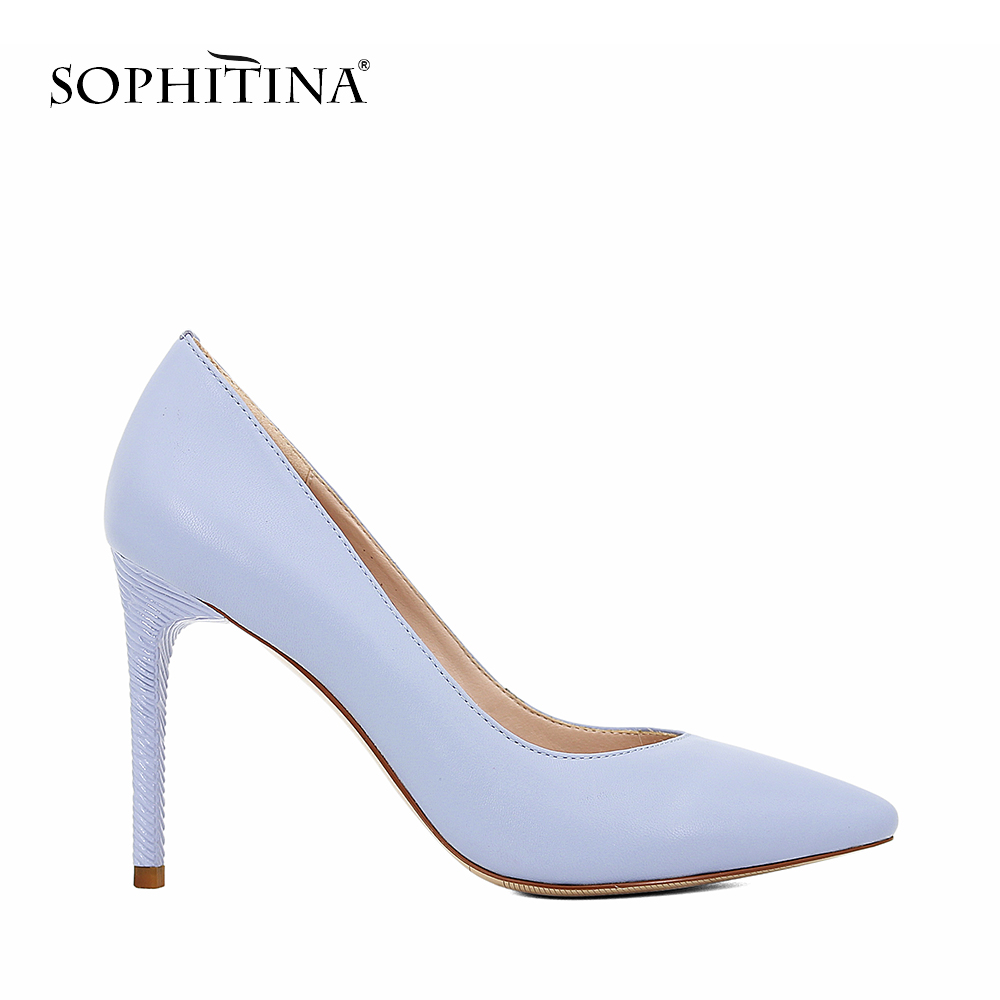 SOPHITINA 2018 Shoes Pump Sheepskin Shallow Pointed Toe High Thin Heel Elegant Classic Wedding Party Office Lady Shoes Pumps D58 plus size new classic pointed toe thin high heel sexy women pumps 10 candy colors for office lady elegant slip on shallow shoes
