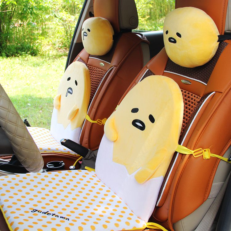 Candice guo plush toy stuffed doll cartoon gudetama lazy egg yolk car seat neck protect pillow cushion vehicle headrest 1pair biety vehicle car seat head neck rest cushion pillows grey 2pcs