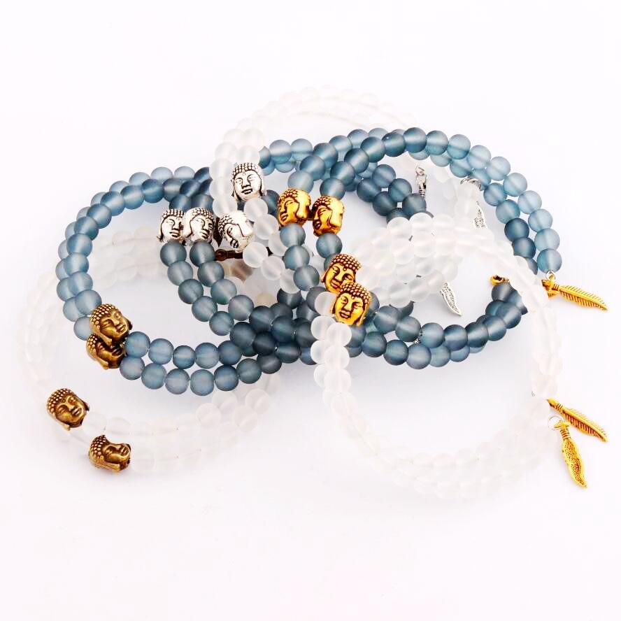 6styles Mens Women Buddha Energy Bracelet Feather Matte 6mm Glass Bead  Bracelets 2layers Expandable