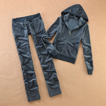Brand Velvet 2019 Women S Fabric Tracksuits Velour Suit Women Track Suit Hoodies And Pants sapphire