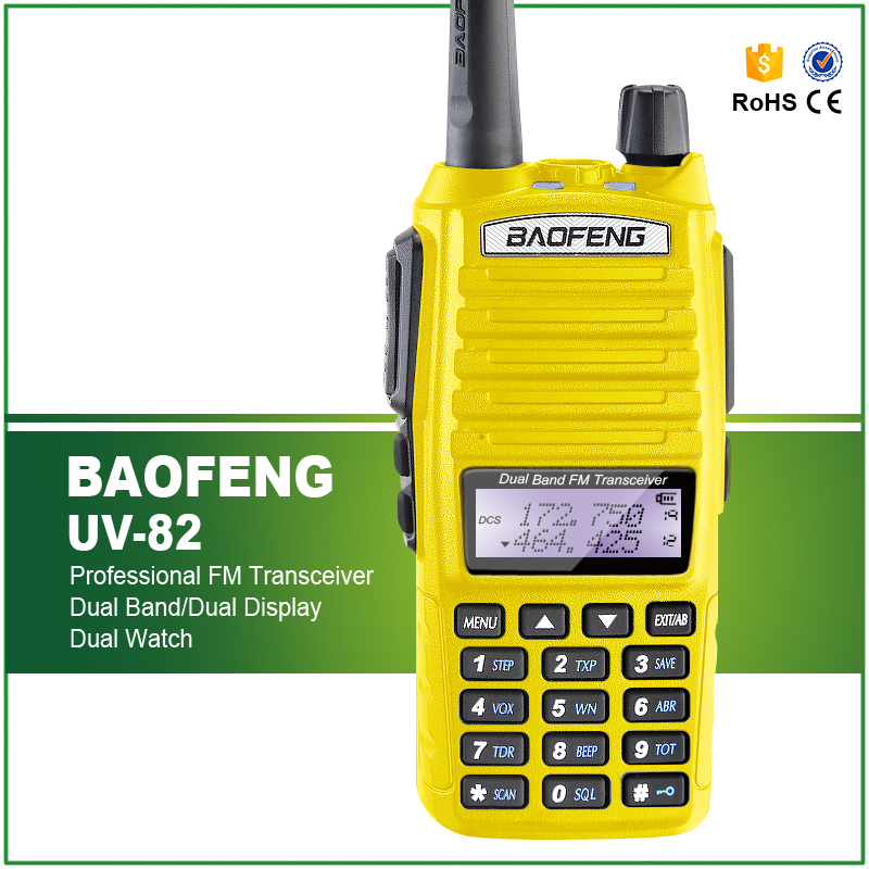 Hot Sell Yellow Baofeng UV-82 5W Portable Radio Walkie Talkie Double PTT Button Vhf Uhf Dual Band Baofeng UV 82 with Headset
