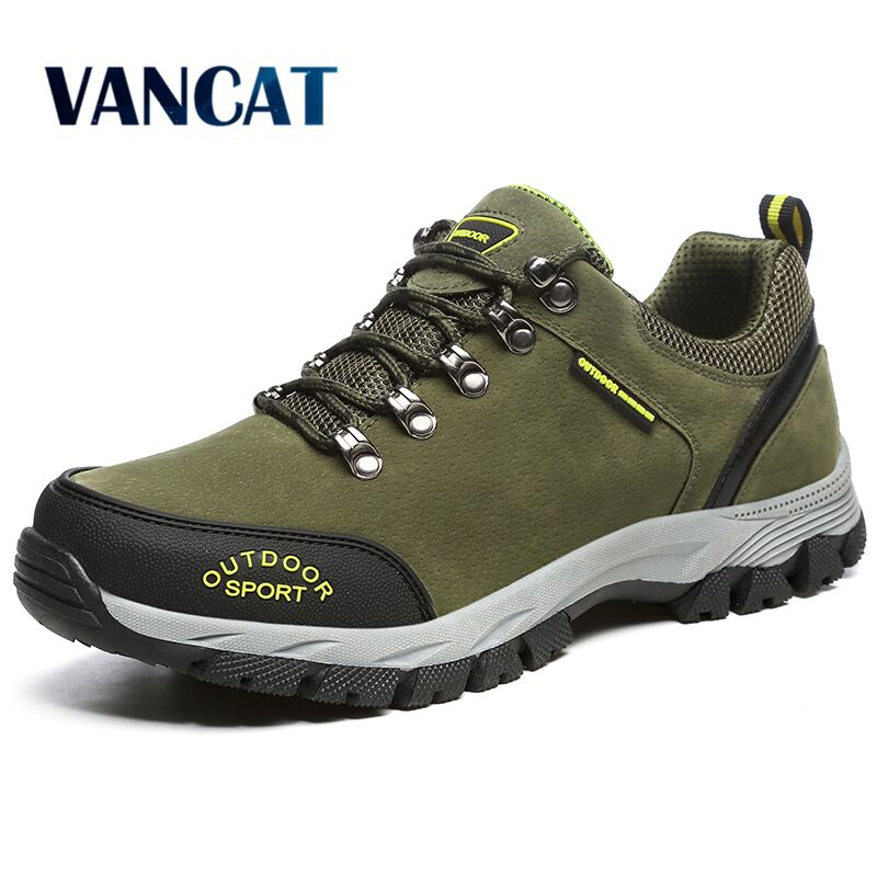 VANCAT Men Big Size 39-49 Fashion Men Shoes Comfortable Waterproof Outdoor Casual Shoes Lace-Up Spring Autumn Rubber Sneakers