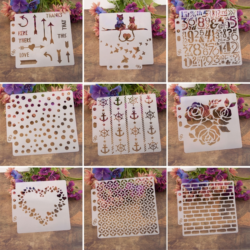 9pcs/set Heart Airbrush Painting Stencil DIY Scrapbooking Album Craft Reusable