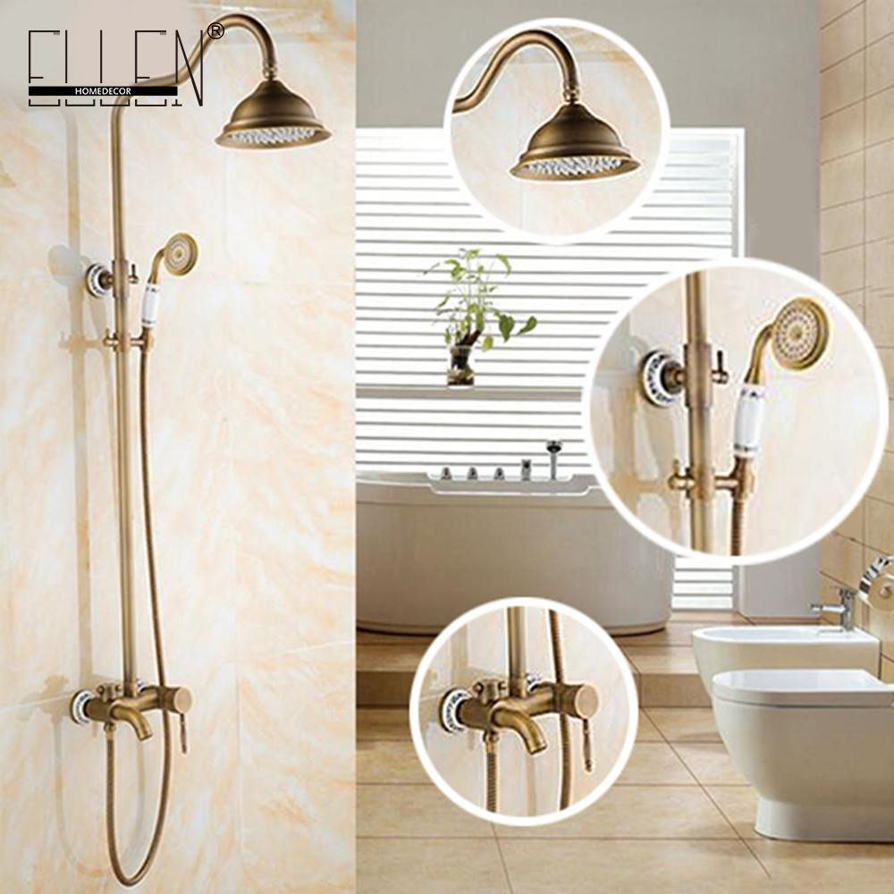 Wall Mounted Bathroom Rain Shower Set Antique Bronze Rainfall Shower +Hand Shower the ivory white european super suction wall mounted gate unique smoke door