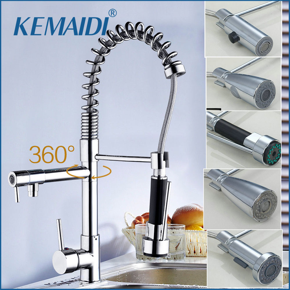 KEMAIDI Wholesale And Retail Luxury Chrome Brass Kitchen Faucet LED Spout Swivel Sprayer Vessel Sink Mixer Tap Single Handle