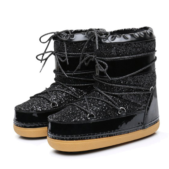 [Dai Yun] 2017 Winter dashion new pattern warm round toe thick bottom sequins mid-sleeve snow boots women V881