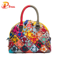Vintage Famous Designer Brand Bags Women Leather Handbags Genuine Leather Shell Bag Cowhide Flower Lady Bag