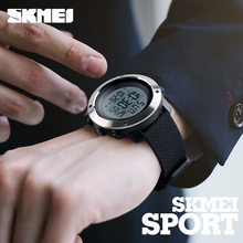 Skmei Fashion Men Sports Watches Chrono Double Time Digital Wristwatches Mens Digital LED Electronic Clock Man Relogio Masculino cheap 26 5cm Shock Resistant Stop Watch Back Light LED display Swim Alarm Rubber 1268 skmei ROUND 5Bar Glass Buckle 55mm 24mm