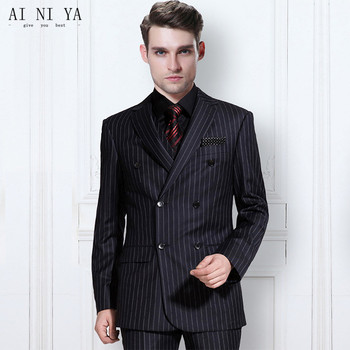 The latest trend men's striped suit groom wedding suits custom-tailored three-piece suit fashion groom suit(jacket+pants+vest)