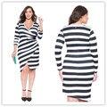 Plus Size Women Clothing Autumn Fashion Black White Stripe Elegant Party Dress High Quality Women Long Sleeve Casual Dresses