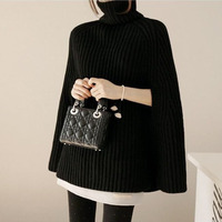 2018 Women'S Sweater Winter Women'S Turtleneck Pullover Splitter Head High Collar Wild Poncho Sweater Plus Size Solid Color
