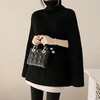 2018 Women'S Sweater Winter Women'S Turtleneck Pullover Splitter Head High Collar Wild Poncho Sweater Plus Size Solid Color