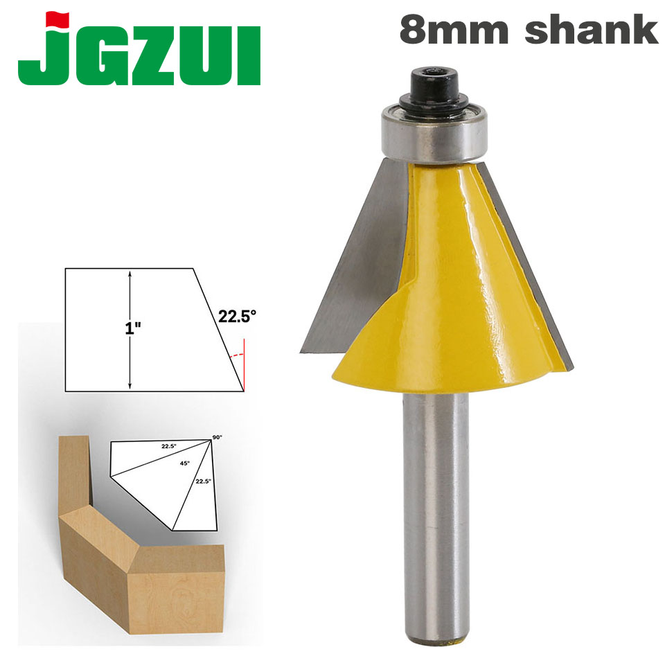 1pc 8mm Shank 22.5 Degree Chamfer & Bevel Edging Router Bit Woodworking Cutter Woodworking Bits