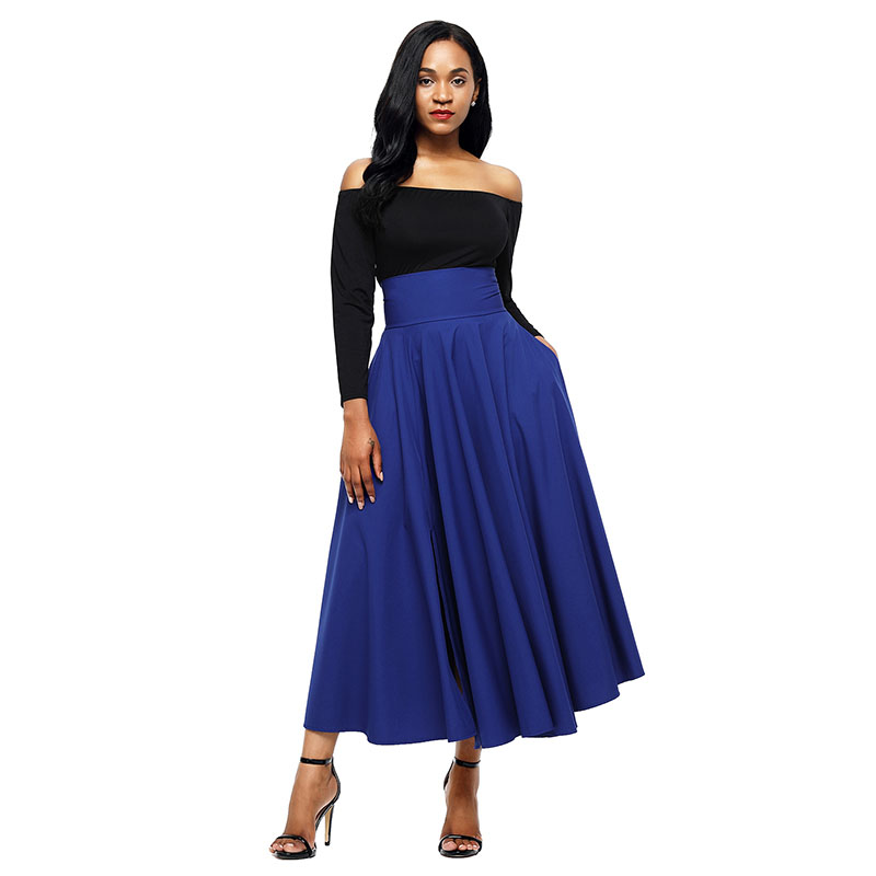 Blue-Retro-High-Waist-Pleated-Belted-Maxi-Skirt-LC65053-5-1