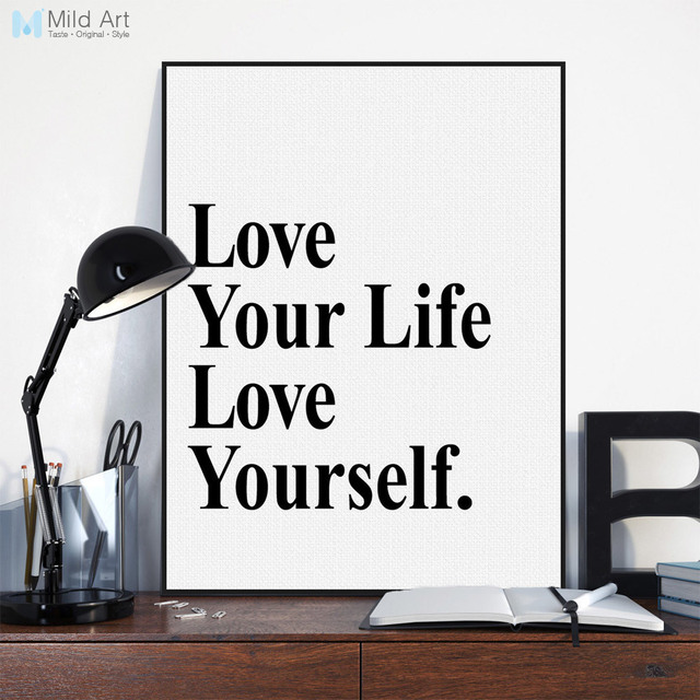 Black White Minimalist Typography Love Life Quotes A4 Art Print Poster Living Room Wall Decor Picture